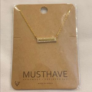 """NWT Must Have 18"""" gold tone crystal BAR Necklace"""